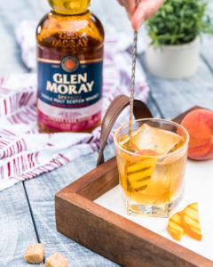 Grilled Peach Old Fashioned Cocktail