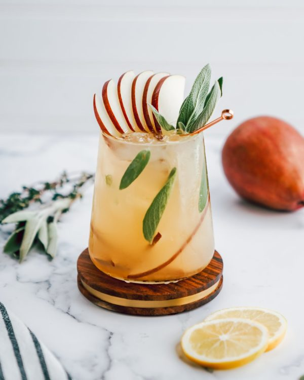 spiced pear & gin cocktail