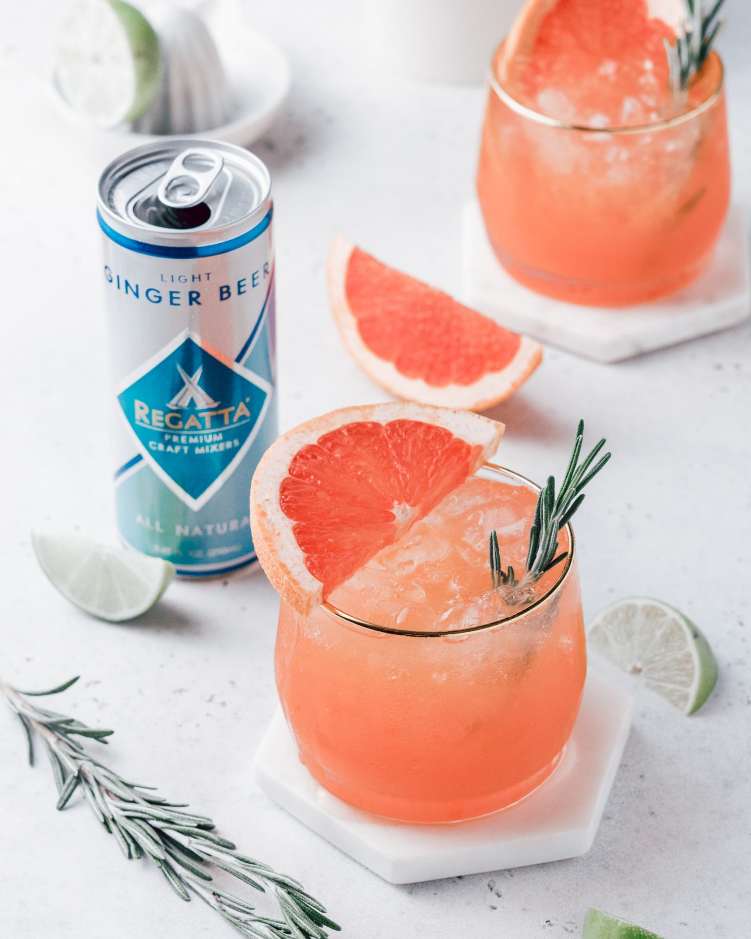 Rosemary Grapefruit Ginger Mocktail