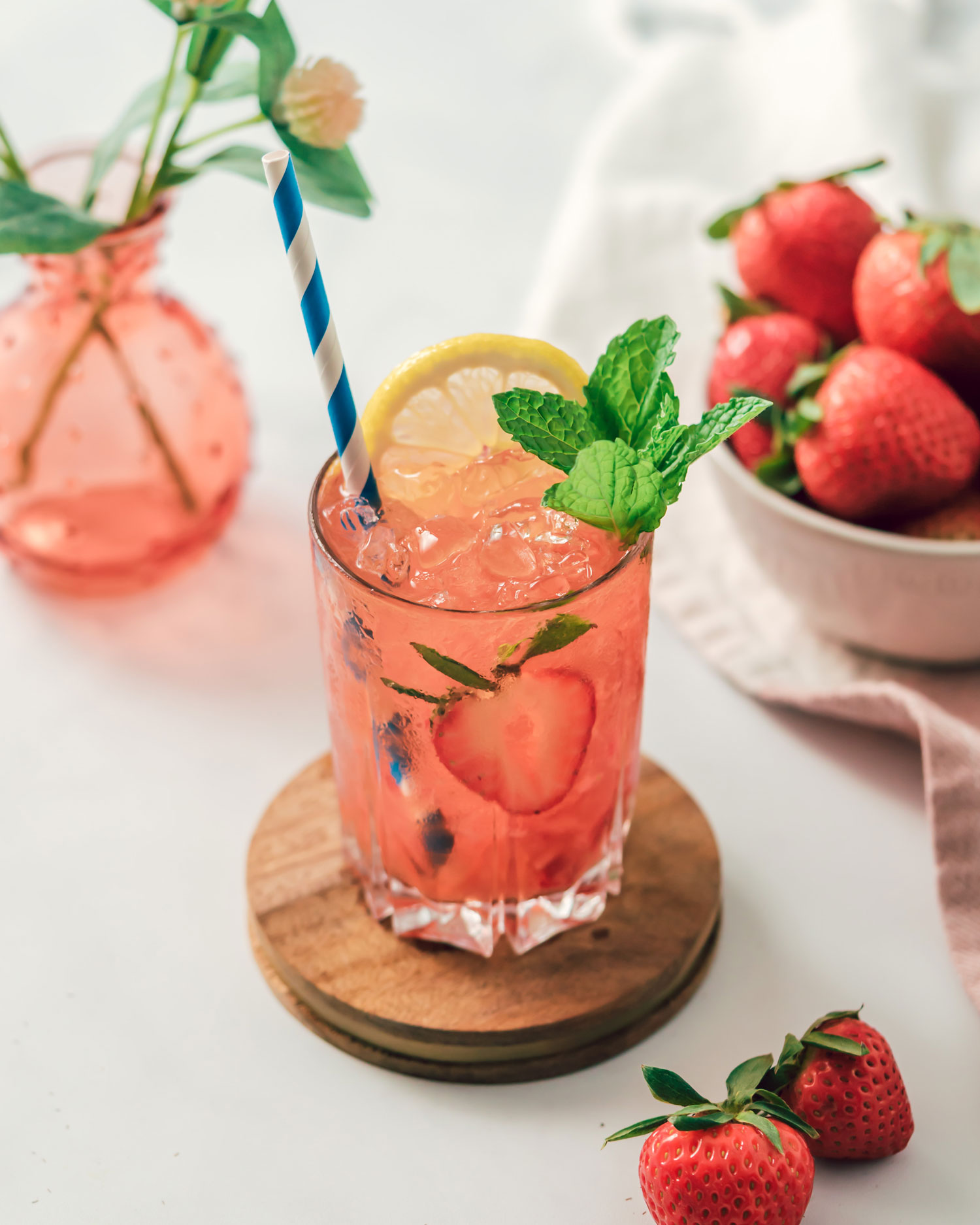 Strawberry ginger bourbon smash