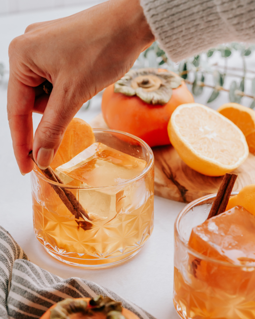 persimmon and citrus old fashioned